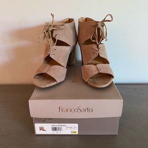Franco Sarto Taupe Open Toed Lace Up Heels
